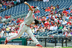 May 6, 2018 - Washington, DC, U.S. - WASHINGTON, DC - MAY 06:  Philadelphia Phillies starting pitcher Jake Arrieta (49) pitches in the first inning during the game between the Philadelphia Phillies and the Washington Nationals on May 6, 2018, at Nationals Park, in Washington D.C.  The Washington Nationals defeated the Philadelphia Phillies, 5-4.  (Photo by Mark Goldman/Icon Sportswire) (Credit Image: © Mark Goldman/Icon SMI via ZUMA Press)