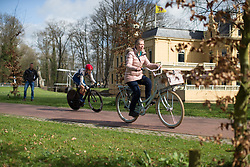 Lotta Lepistö (FIN) of Cervélo-Bigla Cycling Team overtakes an unsuspecting member of the public during Stage 1a of the Healthy Ageing Tour - a 16.9 km time trial, starting and finishing in Leek on April 5, 2017, in Groeningen, Netherlands.