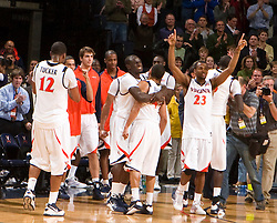 The Virginia Cavaliers defeated the Virginia Tech Hokies 75-61 at the John Paul Jones Arena on the Grounds of the University of Virginia in Charlottesville, VA on February 18, 2009.