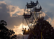 BANTAM, CT- 24 JULY 2008- 072408JT07-.FOR COUNTRY LIFE: The sun sets behind the Ferris Wheel at the annual Bantam Fire Company carnival in Bantam on Thursday..Josalee Thrift / Republican-American