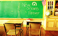 Classroom message left on chalkboard in the wake of Hurricane Katrina