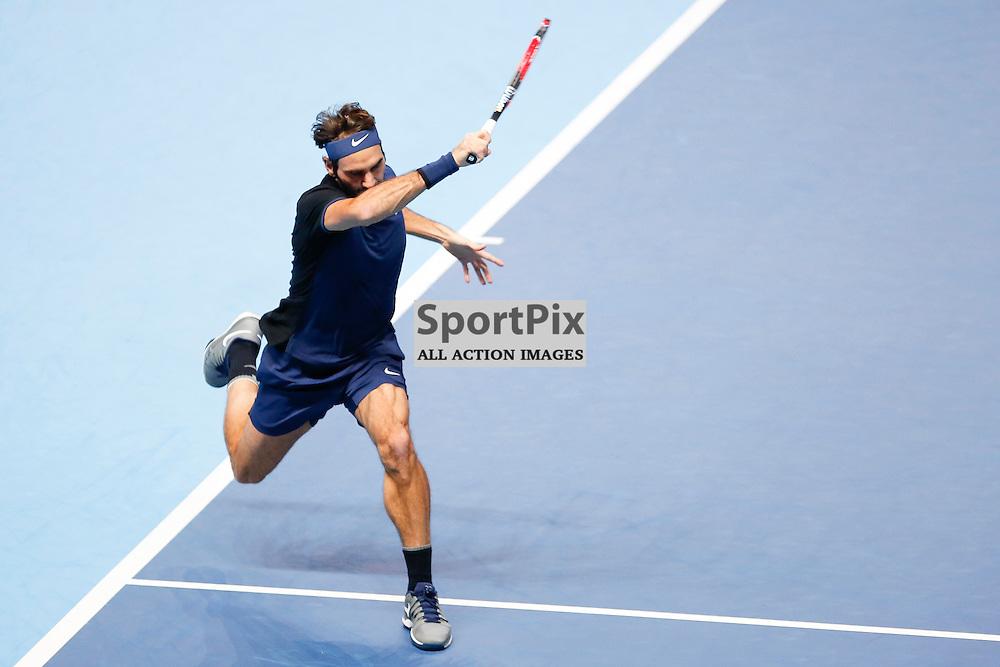 Roger Federer's forehand shot during the ATP World Tour Final match between Novak Djokovic and Roger Federer at the O2 Arena, London 2015.  on November 22, 2015 in London, England. (Credit: SAM TODD | SportPix.org.uk)
