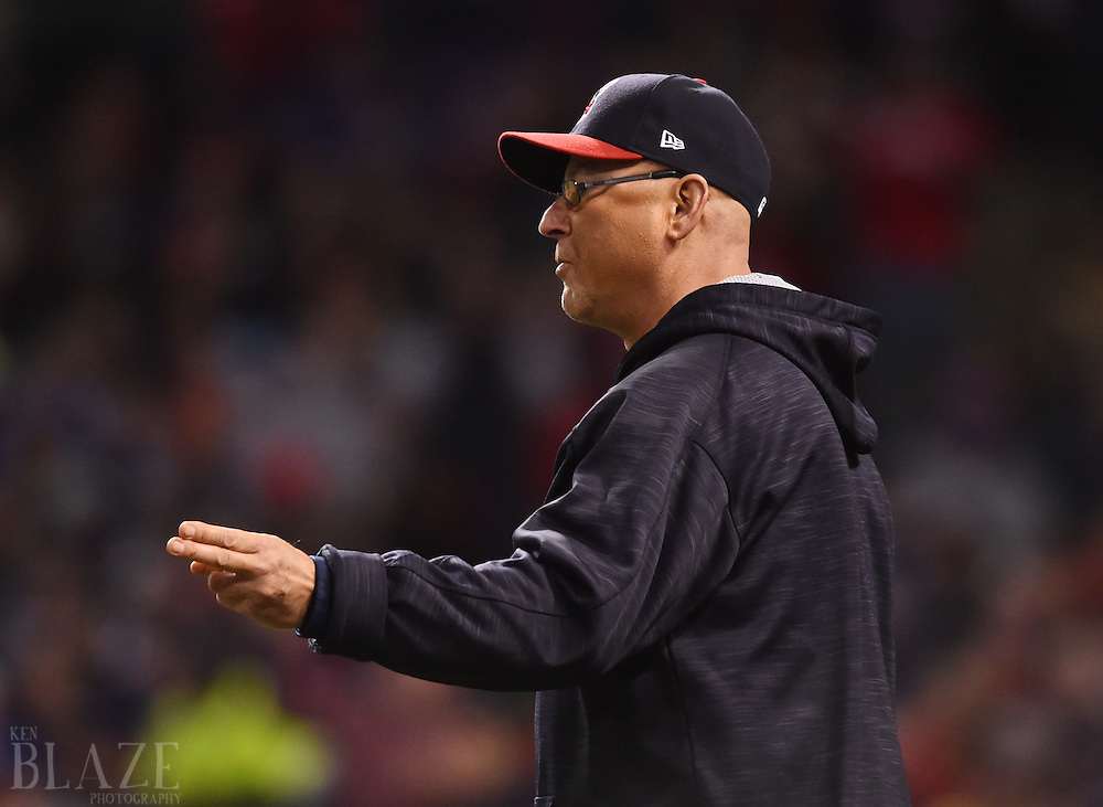 Oct 25, 2016; Cleveland, OH, USA; Cleveland Indians manager Terry Francona makes a pitching change against the Chicago Cubs in the 7th inning in game one of the 2016 World Series at Progressive Field. Mandatory Credit: Ken Blaze-USA TODAY Sports