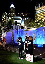 September 23, 2016 - Charlotte, NC, USA - Protesters stand for a portrait in Romare Bearden Park as they prepare to march throughout the city of Charlotte, N.C., on Friday, Sept. 23, 2016, as demonstrations continue following the shooting death of Keith Scott by police earlier in the week. (Credit Image: © Jeff Siner/TNS via ZUMA Wire)