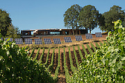 Sokol Blosser tasting room with vineyard and solar panels in foreground,  Dundee Hills, Willamette Valley, Oregon