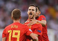 FUSSBALL UEFA U21-EUROPAMEISTERSCHAFT FINALE 2019  in Italien  Spanien - Deutschland   30.06.2019 JUBEL Spanien; Torschuetze zum 1-0 Fabian Ruiz (re) mit Dani Olmo (li)