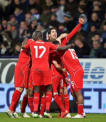 BOLTON, ENGLAND - Wednesday, February 4, 2015: Liverpool's Philippe Coutinho Correia [hidden] celebrates scoring the winning second goal in injury time against Bolton Wanderers during the FA Cup 4th Round Replay match at the Reebok Stadium. (Pic by David Rawcliffe/Propaganda)