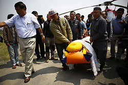 May 7, 2017 - Kathmandu, Nepal - The body of Nepalese mountaineer Min Bahadur Sherchan who was 85, being brought to a hospital in Kathmandu, Nepal on Sunday, May 7, 2017. Sherchan died on Saturday at the base camp to reclaim the lost title to become the oldest person to climb Mount Everest. (Credit Image: © Skanda Gautam via ZUMA Wire)
