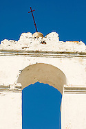 The whitewashed belltower of Agios Dimitrios on the island of Paxos, Ionian Islands, Greece