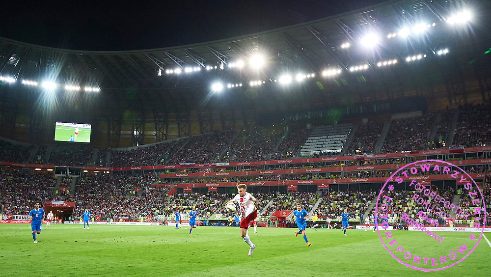 Maciej Rebus from Poland controls the ball during international friendly soccer match between Poland and Greece at PGE Arena Stadium on June 16, 2015 in Gdansk, Poland.<br /> Poland, Gdansk, June 16, 2015<br /> <br /> Picture also available in RAW (NEF) or TIFF format on special request.<br /> <br /> For editorial use only. Any commercial or promotional use requires permission.<br /> <br /> Adam Nurkiewicz declares that he has no rights to the image of people at the photographs of his authorship.<br /> <br /> Mandatory credit:<br /> Photo by &copy; Adam Nurkiewicz / Mediasport