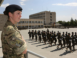 © Licensed to London News Pictures. 15/06/2012. Helmand. At the Kabul Military Training Centre Afghan female recruits take part in a 20 week course with the hope of becoming an officer in the Afghan National Army. Captain Susanna Wallis is a Royal Signals Officer who has volunteered to mentor these women. Army women 'engagement officers' working in Afghanistan. Trained in Pashto, the Afghan language, they accompany infantry on patrols and build relationships with Afghan women in some of the most dangerous parts of Helmand. Photo credit : Alison Baskerville/LNP