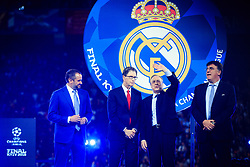 Liverpool owner John W Henry, President Florentino Perez of Real Madrid and Theodore Theodoridis, General Secretary of UEFA at UEFA Champions League Trophy Cermony after the UEFA Champions League Final between Real Madrid and Liverpool at NSC Olimpiyskiy Stadium on May 26, 2018 in Kiev, Ukraine. Photo by Sandi Fiser / Sportida
