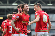 Nottingham Forest midfielder Henri Lansbury (10) celebrating scoring his second goal of the game 1-3 during the Sky Bet Championship match between Fulham and Nottingham Forest at Craven Cottage, London, England on 23 April 2016. Photo by Matthew Redman.