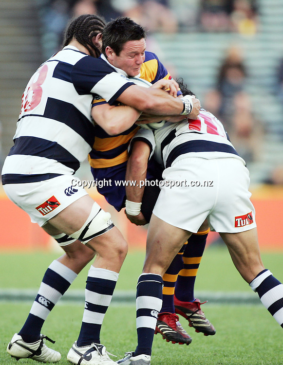 Mike Delany is lifted up by Tasesa Lavea and Kurtis Haiu during the Air NZ Cup rugby match between Auckland and Bay of Plenty at Eden Park, Auckland, New Zealand on 7 October, 2006. Auckland won the match 47 - 14. Photo: Hannah Johnston/PHOTOSPORT<br /><br /><br /><br /><br />071006