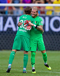 CHARLOTTE, USA - Sunday, July 22, 2018: Liverpool's goalkeeper Loris Karius and Borussia Dortmund's goalkeeper Marwin Hitz after a preseason International Champions Cup match between Borussia Dortmund and Liverpool FC at the  Bank of America Stadium. (Pic by David Rawcliffe/Propaganda)