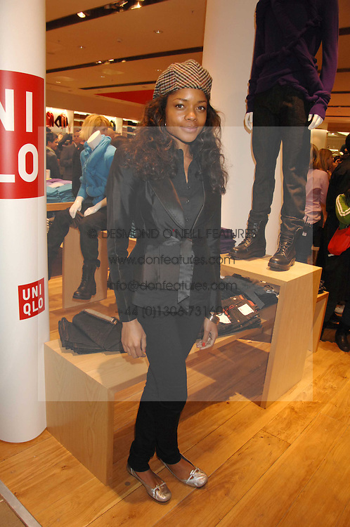 Actress NAOMI HARRIS at a party to celebrate the opening of the new Uniqlo store at 331 Oxford Street, London W1 on 6th November 2007.<br />