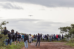 November 14, 2016 - Sao Paulo, Brazil - Spotters waiting for the Ukrainian Antonov An-225 Mriya, the world's largest cargo plane, landing at Viracopos International Airport, about 100km far from Sao Paulo. The aircraft will pick up a generator with a total weight about 150 tons in Guarulhos and will deliver it to the city of Santiago, in Chile. (Credit Image: © Paulo Lopes via ZUMA Wire)