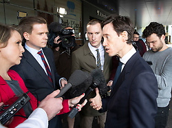 © Licensed to London News Pictures. 15/06/2019. London, UK. Conservative Party leadership candidate Rory Stewart answers questions as he arrives at a hustings event in central London. The remaining candidates in the leadership race will face a second round of votes in Parliament on Tuesday next week. Photo credit: Peter Macdiarmid/LNP