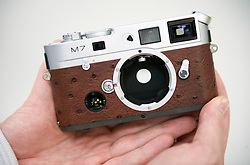 "SOLMS, GERMANY - MAY-18-2009 -  A custom made Leica M7 with Ostrich leather. Leica's ""a la carte"" program allows customers to order custom made cameras. (Photo © Jock Fistick)"