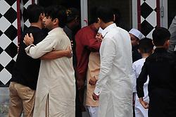 June 26, 2017 - Rawalpindi, Punjab, Pakistan - Muslims perform Eid al-Fitr prayer during the Eid al-Fitr holiday in jamia mosque Rawalpindi Muslims around the world are celebrating the Eid al-Fitr holiday, which marks the end of the fasting month of Ramadan (Credit Image: © Zubair Abbasi/Pacific Press via ZUMA Wire)