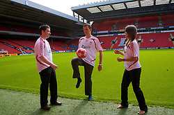 LIVERPOOL, ENGLAND - Thursday, September 6, 2007: Liverpool FC.TV presenters Peter McDowall, Matt Critchley and Claire Rourke at Anfield. (Photo by David Rawcliffe/Propaganda)