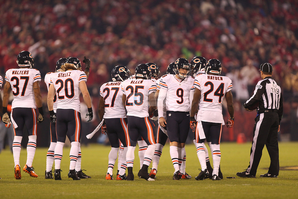 Members of the Chicago Bears look on against the San Francisco 49ers, during an NFL game on Monday Nov. 19, 2012 in San Francisco, CA.  (photo by Jed Jacobsohn)