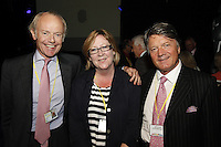 Jonathan Morrish, Maggie Crowe  BPI Director of Events & Charities and Fran Nevrkla (PPL Chairman and CEO) (l-r).The BRIT School Industry Day, Croydon, London..Thursday, Sept.22, 2011 (John Marshall JME)