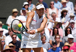 LONDON, ENGLAND - Thursday, July 12, 2018: Angelique Kerber (GER) during the Ladies' Singles Semi-Final match on day ten of the Wimbledon Lawn Tennis Championships at the All England Lawn Tennis and Croquet Club. (Pic by Kirsten Holst/Propaganda)