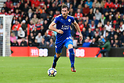 Christian Fuchs (28) of Leicester City on the attack during the Premier League match between Bournemouth and Leicester City at the Vitality Stadium, Bournemouth, England on 30 September 2017. Photo by Graham Hunt.