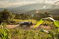 A truck carrying staff from Central American Medical Outreach drives up a road near the town of Gracias Oct 20, 2014.  CAMO is a humanitarian organization that provides life-saving medical services, education, and many other services to the communities.