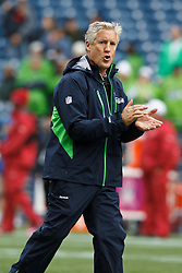 October 24, 2010; Seattle, WA, USA;  Seattle Seahawks head coach Pete Carroll watches his team warm up before the game against the Arizona Cardinals at Qwest Field. Seattle defeated Arizona 22-10.