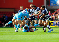 Bristol Flanker Jack Lam evades a challenge of Worcester Flanker Sam Betty - Photo mandatory by-line: Joe Meredith/JMP - Mobile: 07966 386802 - 7/09/14 - SPORT - RUGBY - Bristol - Ashton Gate - Bristol Rugby v Worcester Warriors - The Rugby Championship
