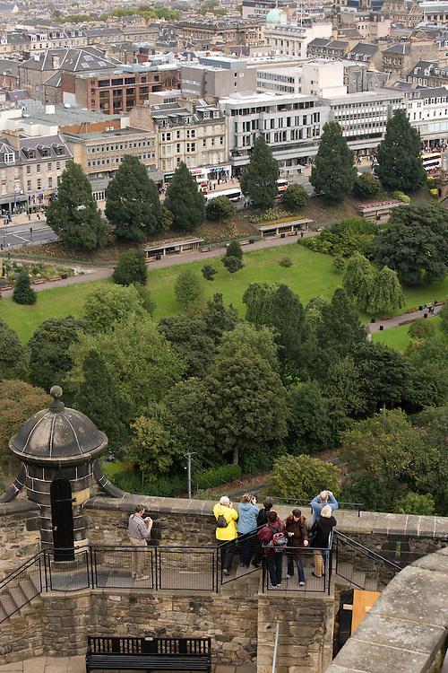 Looking down at Princes Street from Edinburgh Castle, Edinburgh, Scotland, UK