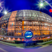 Sprint Center arena during the 2012 Big 12 Basketball Tournament in downtown Kansas City, Missouri's Power and Light District.