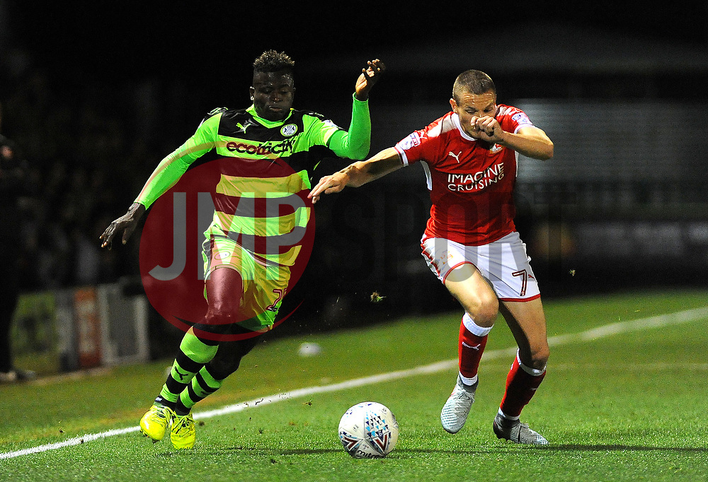 Toni Gomes of Forest Green Rovers competes  with Paul Mullin of Swindon Town- Mandatory by-line: Nizaam Jones/JMP - 22/09/2017- FOOTBALL - New Lawn Stadium - Nailsworth, England - Forest Green Rovers v Swindon Town - Sky Bet League Two