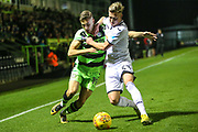 Forest Green Rovers William Randall(19) and Swansea City's Adam King challenge for the ball during the EFL Trophy match between Forest Green Rovers and U21 Swansea City at the New Lawn, Forest Green, United Kingdom on 31 October 2017. Photo by Shane Healey.