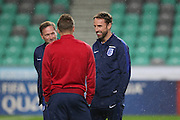England Manager Gareth Southgate (caretaker) talks with Jamie Vardy during a general stadium walk around before the Slovenia vs England FIFA World Cup Group F Qualifier match at Stadion Stozce, Ljubljana, Slovenia on 10 October 2016. Photo by Phil Duncan.