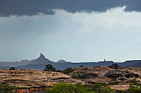 A rainstorm passing over the Needles District of Canyonlands National Park, Utah, USA.