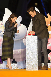 © Licensed to London News Pictures. 29/09/2016. ANNA KENDRICK and JUSTIN TIMBERLAKE arrive for the lighting of The London Eye to celebrate the animation film Trolls. London, UK. Photo credit: Ray Tang/LNP