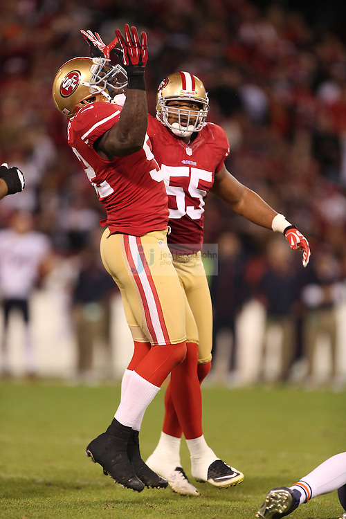 San Francisco 49ers linebacker Patrick Willis (52) celebrates against the Chicago Bears, during an NFL game on Monday Nov. 19, 2012 in San Francisco, CA.  (photo by Jed Jacobsohn)