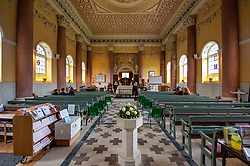 © Licensed to London News Pictures. 03/10/2019. High Wycombe, UK. An inside view of St Lawrence's Church in High Wycombe as family and friends gather for the funeral of Libby Squire. Libby Squire was a 21-year-old Hull University student and originally from High Wycombe she disappeared after a night out in Hull on February 1st, 2019. After extensive searches her body was found close to Spurn Point on March 20th, 2019. Photo credit: Peter Manning/LNP