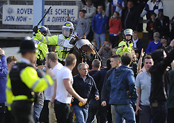 A Police horse moves Bristol Rovers fans  - Photo mandatory by-line: Joe Meredith/JMP - Mobile: 07966 386802 03/05/2014 - SPORT - FOOTBALL - Bristol - Memorial Stadium - Bristol Rovers v Mansfield - Sky Bet League Two