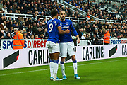 Dominic Calvert-Lewin (#9) of Everton celebrates Everton's first goal (0-1) with Gylfi Sigurdsson (#10) of Everton during the Premier League match between Newcastle United and Everton at St. James's Park, Newcastle, England on 28 December 2019.