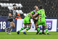 Ospreys' Alun Wyn Jones is tackled by Northampton Saints' Francois van Wyk<br /> <br /> Photographer Craig Thomas/Replay Images<br /> <br /> EPCR Champions Cup Round 4 - Ospreys v Northampton Saints - Sunday 17th December 2017 - Parc y Scarlets - Llanelli<br /> <br /> World Copyright © 2017 Replay Images. All rights reserved. info@replayimages.co.uk - www.replayimages.co.uk