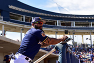 PHOENIX, AZ - MARCH 04:  Domingo Santana #16 of the Milwaukee Brewers looks on prior to the spring training game against the Texas Rangers at Maryvale Baseball Park on March 4, 2017 in Phoenix, Arizona.  (Photo by Jennifer Stewart/Getty Images)