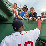 August 18, 2015, Boston, MA:<br /> Boston Red Sox third baseman Pablo Sandoval signs autographs before a game between the Boston Red Sox and the Cleveland Indians at Fenway Park in Boston, Massachusetts Tuesday, August 18, 2015.<br /> (Photo by Billie Weiss/Boston Red Sox)