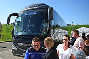 The Oldham Players arrive at Sixfields Stadium during the EFL Sky Bet League 1 match between Northampton Town and Oldham Athletic at Sixfields Stadium, Northampton, England on 5 May 2018. Picture by Dennis Goodwin.