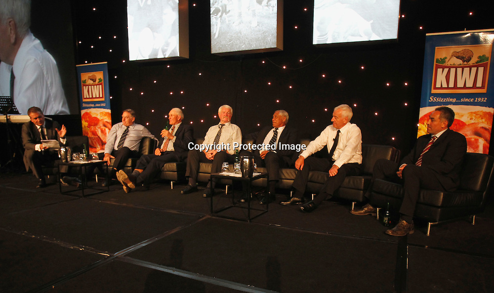 Left to right Hamish Mckay, Sir Colin Meads, Ian Kirkpatrick, Alex Wyllie, Waka Nathan, Laurie Mains and Frank Bunce. Sir Colin Meads Tribute Dinner, SkyCity, Auckland, Wednesday 29th September 2010. Photo: Shane Wenzlick