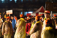 Custodians assemble before the lanterns are ready. Pingxi Sky Lanterns Release at Jingtong, Taiwan