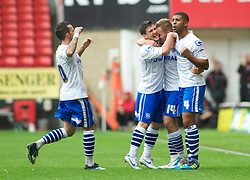 LONDON, ENGLAND - Saturday, October 8, 2011: Tranmere Rovers' Adam McGurk celebrates his goal to make it 1-0 against Charlton Athletic during the Football League One match at The Valley. (Pic by Gareth Davies/Propaganda)